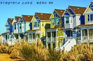 Houses along Virginia Lake- look like San Francisco houses...
